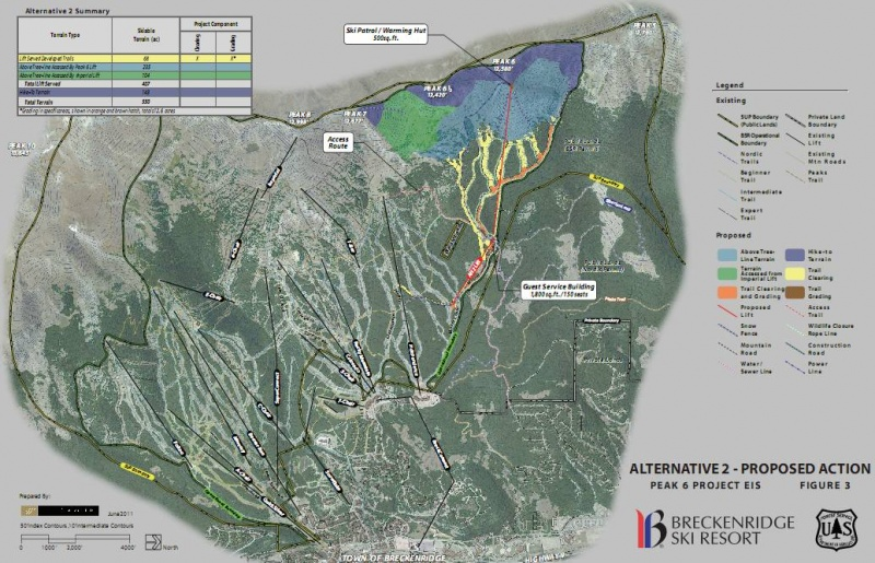 A map depicting Breckenridge Ski Resort's proposed expansion onto neighboring Peak 6.