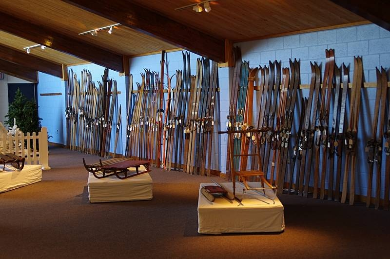 A display of old skis on the second floor of the U.S. National Ski & Snowboard Hall of Fame in Ishpeming, Mich. (photo: FTO/Kevin Gawenus)