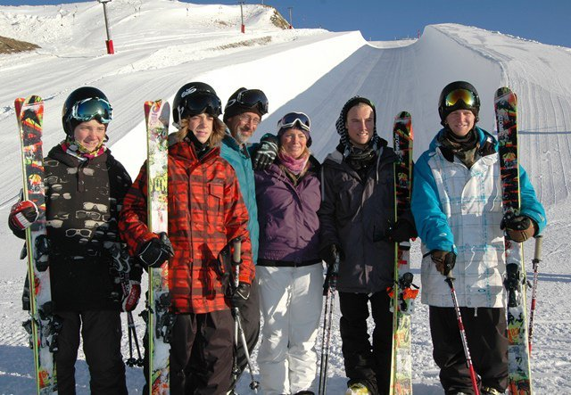 The Wells family (left to right: Jackson, Beau-James, Bruce, Stacy, Jossi & Byron) pose in front of Cardrona's new Pipe Platter on Tuesday. (photo: Cardrona Alpine Resort)