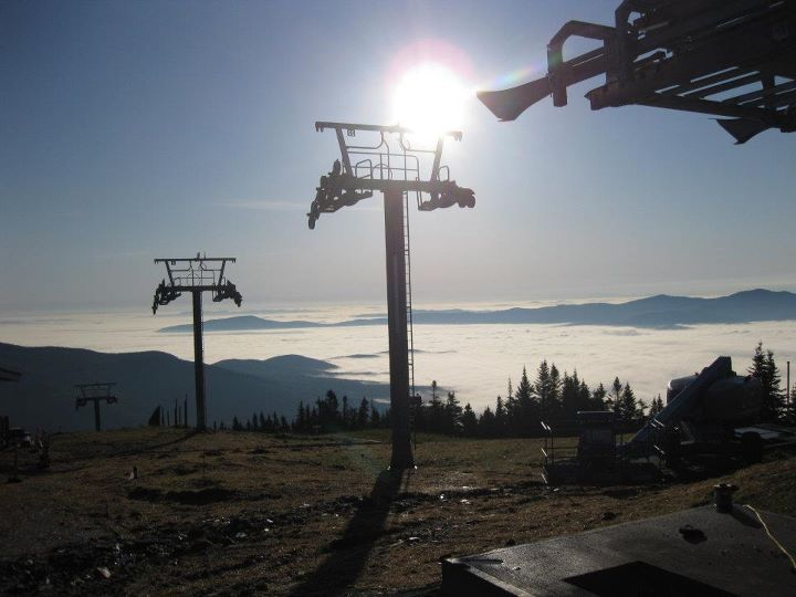 Construction continues on Stowe's new FourRunner Quad, as seen in this photo from last week. (photo: Stowe Mountain Resort)