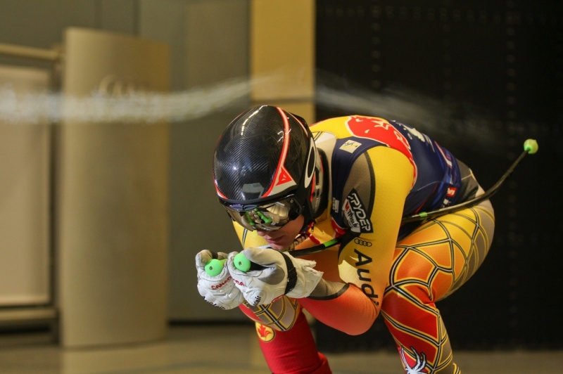 Canadian ski racer Erik Guay trains in the Audi Wind Tunnel Centre in Germany on Friday. (photo: Audi AG)
