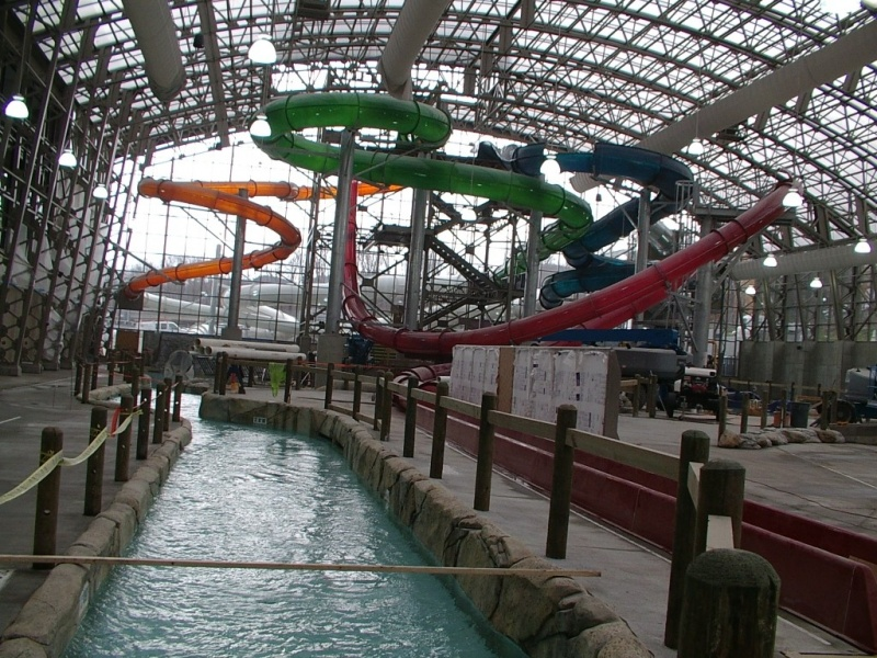 Construction workers are putting the finishing touches on The Pump House, a new $27 million indoor water park at Jay Peak ski resort in Vermont. (photo: Jay Peak Resort)