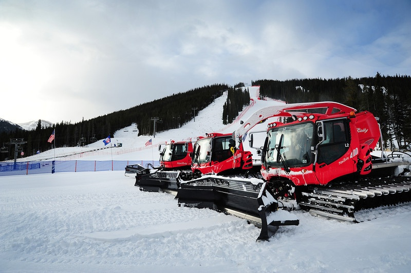 Snow cats are lined up in the finish area of the U.S. Ski Team Speed Center at Copper on Tuesday, with full length downhill training for the U.S. Ski Team. (photo: USSA/Tom Kelly)