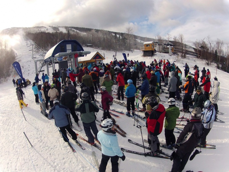 Guests gather for the official ribbon cutting ceremony for Sugarloaf's newest lift, the skyline quad, at the Maine Resort on Saturday. (photo: Sugarloaf)