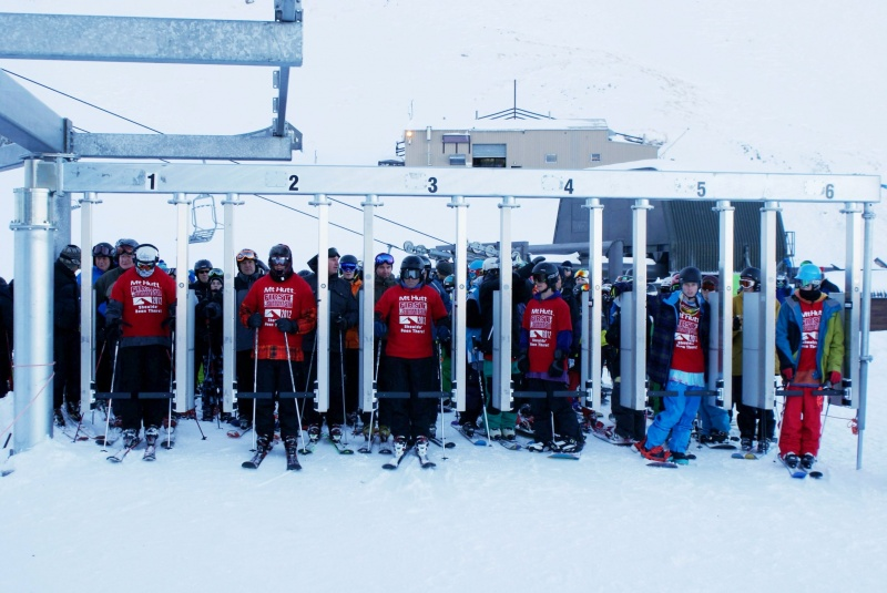 Skiers and riders line up for the first chair of the ski season at Mt. Hutt, near Methven, New Zealand on Saturday. (photo: NZski.com)