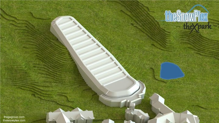 An architect's mock-up of the indoor ski and snowboard facility proposed for Loretto, Ontario, Canada. (photo: The SnowPlex)