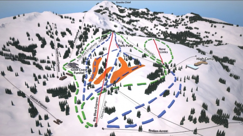 Squaw's new lift alignment between Gold Coast and High Camp (image: Squaw Valley)