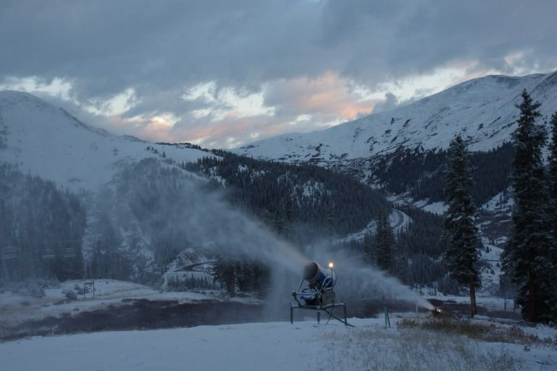Friday dawns with snowmaking at A-Basin. (photo: Arapahoe Basin Ski Area)