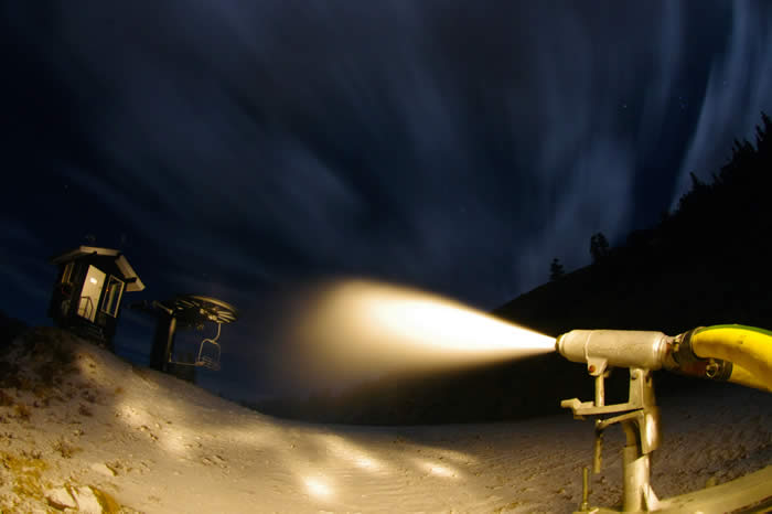 Loveland's snowmakers get to work this morning. (photo: Loveland Ski Area)