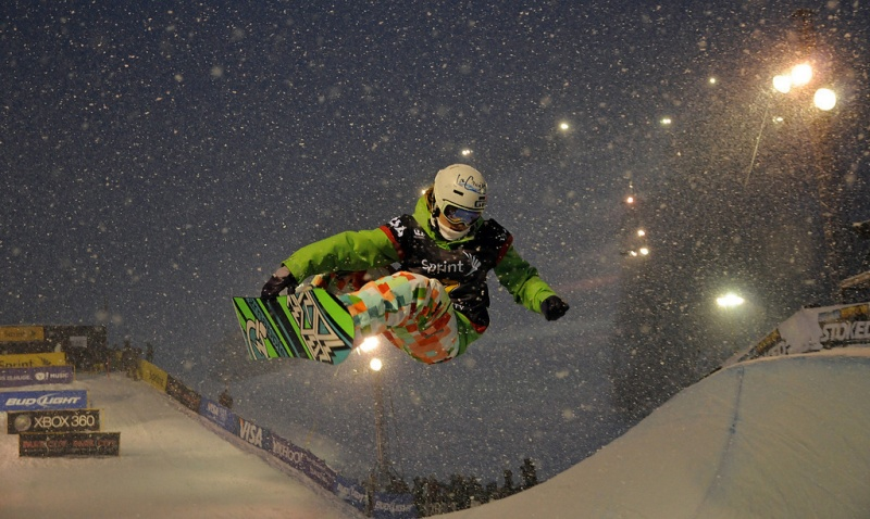 Clair Bidez rides the halfpipe at Park City Mountain Resort during the Sprint Grand Prix stop at the Utah resort in 2010. (photo: USSA/Tom Kelly)