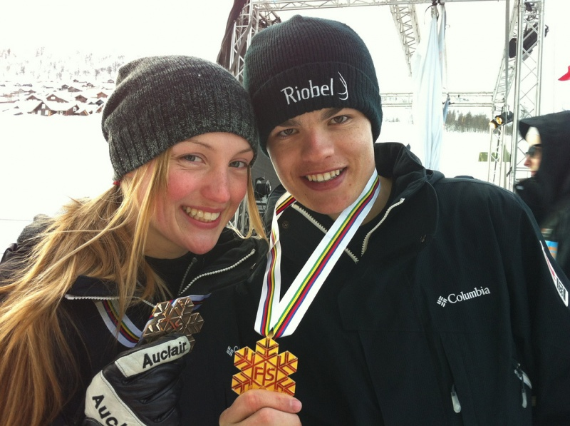 Canada's Justine Dufour-Lapointe and Mikael Kingsbury pose with World Championships earned in moguls on Wednesday in Voss, Norway. (photo: Canadian Freestyle)