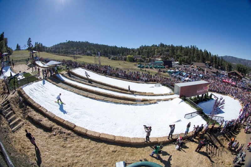 Pro riders compete in the 10th edition of Hot Dawgz and Handrails, held on Saturday at Bear Mountain in California. (photo: BBMR)