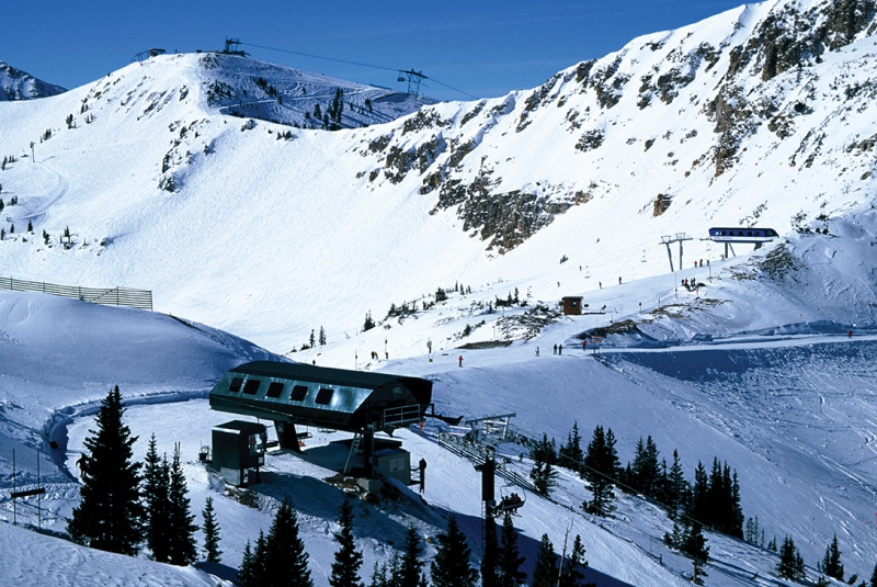 Alta (foreground) and Snowbird ski resorts in Utah (photo courtesy: Alta and Snowbird)