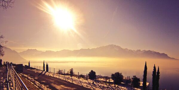 Epic racer Matt Dority, of Boulder, Colo., has already tweeted back this photo of Lake Geneva en route to Verbier, Switzerland. (photo: Twitter)
