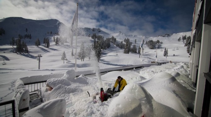 Staffers clear snow at Squaw Valley on Monday (photo: Jeff Engerbretson)