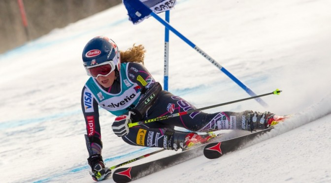 Mikaela Shiffrin, of Eagle, Colo., races in a World Cup competition held on the Raptor 2015 World Championship course at Beaver Creek, Colo., last December. (photo: Cody Downard/Cody Downard Photography)