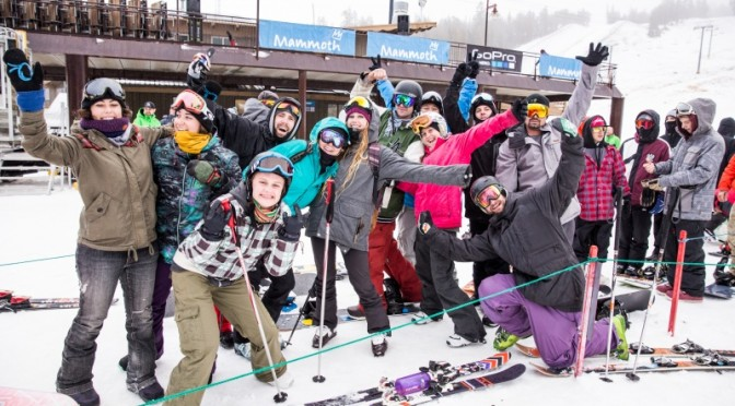 Anxious skiers and riders celebrate opening day this morning at Mammoth Mountain, Calif. (photo: Peter Morning/MMSA)