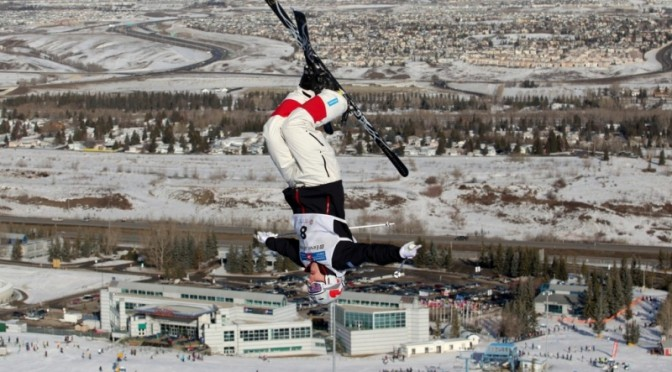 Cedric Rochon, of Saint Sauveur, Quebec, soars over Canada Olympic Park in Calgary. (file photo: Mike Ridewood/CFSA)
