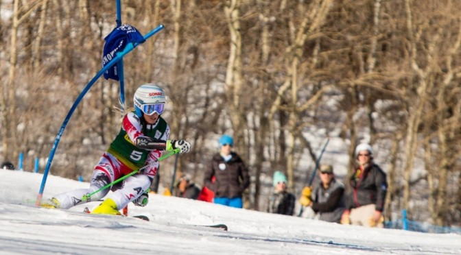 Austria's Eva-Maria Brem powers her way to the first World Cup win of her career in Saturday's World Cup slalom in Aspen, Colo. (photo: Jeremy Swanson)
