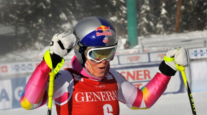 A relieved and confident Lindsey Vonn takes a deep breath after finishing the first training run for the Lake Louise Audi FIS Ski World Cup Downhill. (photo: U.S. Ski Team/Tom Kelly)