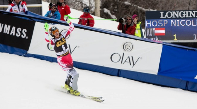 Austria's Nicole Hosp celebrates her first World Cup win since 2008 in Aspen, Colo. on Sunday. (photo: Jeremy Swanson)