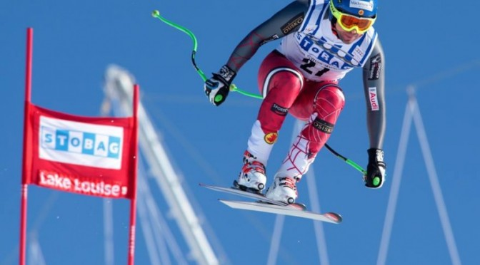 Canada's Manuel Osborne-Paradis returned to the World Cup podium for the first time in four years at Saturday's downhill in Lake Louise. (photo: Malcolm Carmichael)