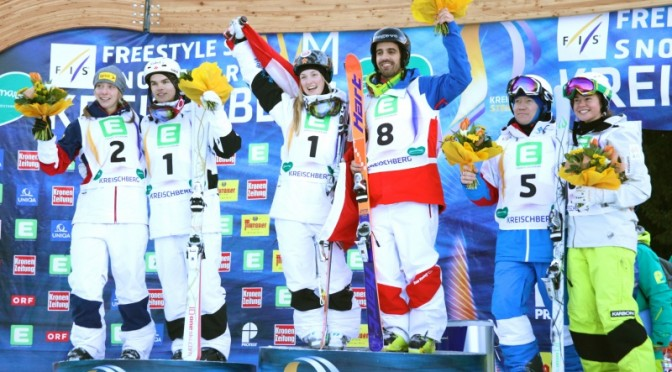 Sunday's World Championships moguls podium finishers in Kreischberg, Austria. (photo: FIS/Chad Buchholz)