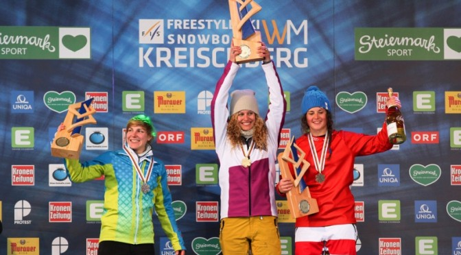 Lindsey Jacobellis, of Stratton Mountain, Vt., celebrates her fourth World Championships snowboardcross gold medal on Friday in Kreischberg, Austria, along with Moenne Loccoz of France, left, and Italy's Michela Moioli, right. (photo: FIS/Oliver Kraus)