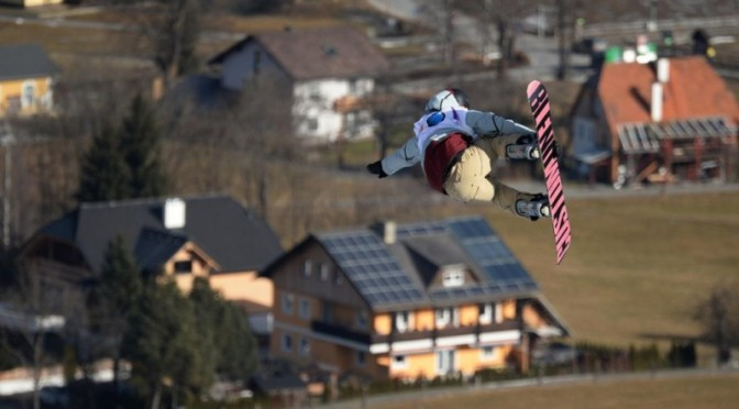Ryan Stassel, of Anchorage, Alaska, shreds to first place in the World Championships slopestyle in Kreischberg, Austria on Wednesday. (photo: Getty Images-AFP/Michal Cizek/courtesy US Snowboarding)