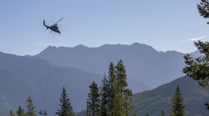 A helicopter carries chairlift tower parts in late July as part of Vail Mountain's replacement of its Avanti Express lift. (photo: Vail Resorts/Andrew Taylor)