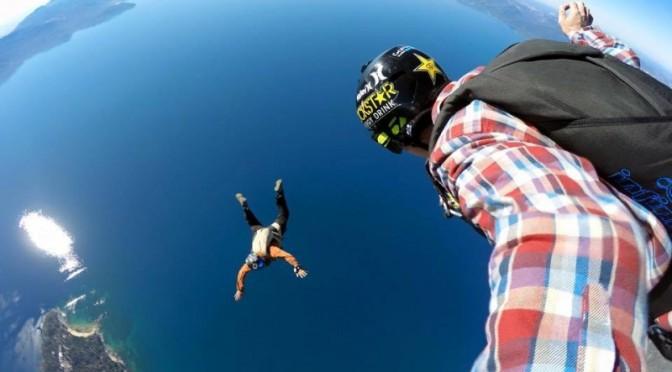 Erik Roner skydives over Lake Tahoe last week. (photo: Facebook)