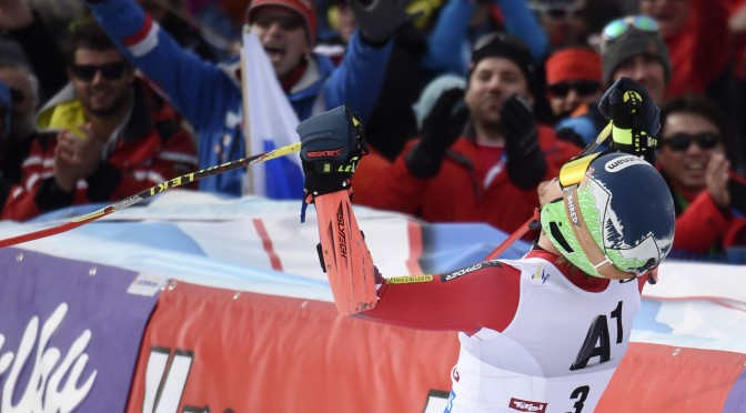 Ted Ligety celebrates in the finish after taking the first victory of the season on Sunday in Soelden, Austria. (photo: Getty Images/Agence Zoom-Michel Cottin via USST)
