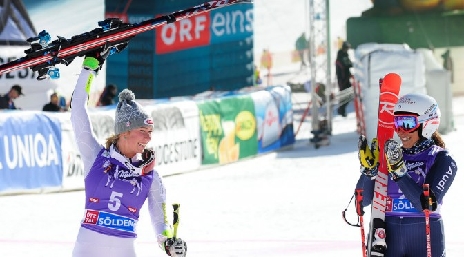 Mikaela Shiffrin celebrates a strong second run to finish second in the opening Audi FIS Ski World Cup in Soelden, Austria. (photo: U.S. Ski Team - Tom Kelly)