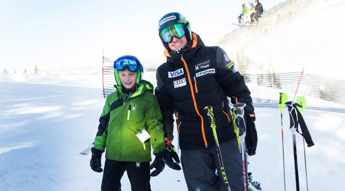 Ted Ligety poses with What Makes a Champ winner Auden Pankonin as they prepare for the Putnam Investments NASTAR Pacesetting Trials at Copper Mountain. (photo: U.S. Ski Team)