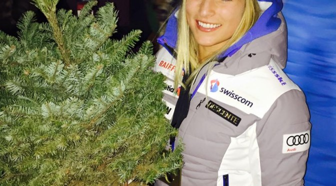 Giant Slalom winner Lara Gut of Switzerland shows off her Aspen Champions Grove tree that will be planted just off the Ruthies run at Aspen Mountain to honor her win on Friday, alongside the winners of each Aspen Winternational Slalom and Giant Slalom race. (photo: Aspen Snowmass)