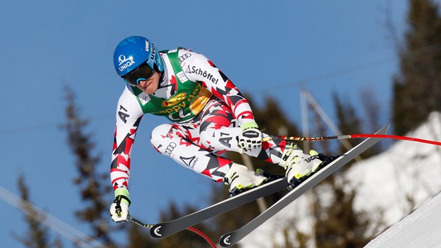 Austria's Matthias Mayer competes in Lake Louise, Canada last month. (photo: FIS/Agence Zoom)