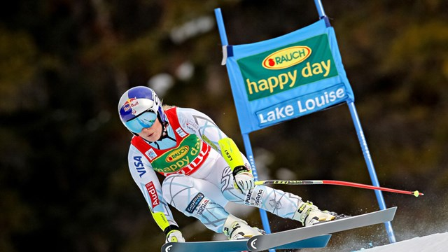 """A """"Happy Day"""" indeed for Colorado's Lindsey Vonn, as she goes three for three to sweep a World Cup weekend in Lake Louise. (photo: FIS/Agence Zoom)"""
