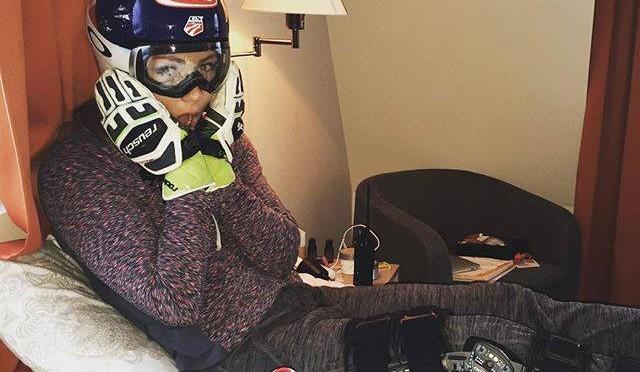 U.S. ski racer Mikaela Shiffrin awaits an MRI on her left knee on Saturday in Åre, Sweden. (photo: Facebook)