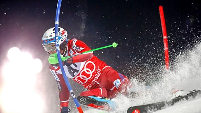 Norway's Henrik Kristoffersen on Tuesday night in Schladming, Austria. (photo: FIS/Agence Zoom)