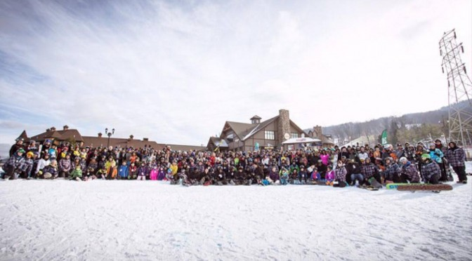 Despite the weather, Mountain Creek in N.J. enjoyed a huge turnout for the World's Largest Lesson attempt. (photo: Mountain Creek Resort)
