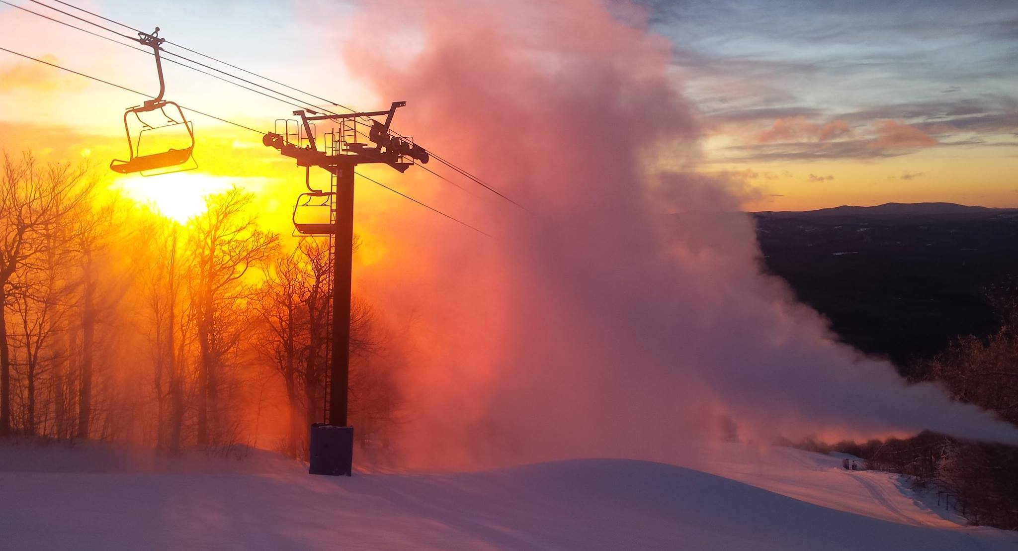 Bromley snowmakers hope to get back to this by Thursday. (file photo: Bromley Mountain)