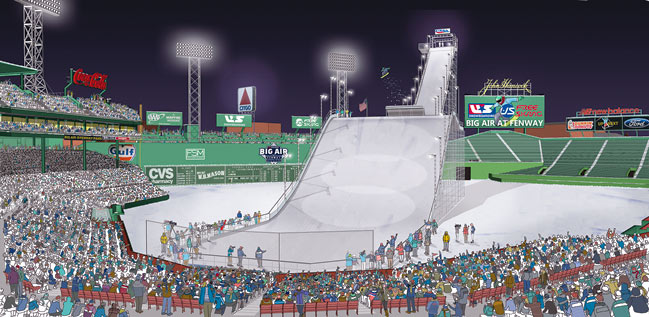 An artist's rendering of the big air ramp coming to Boston's Fenway Park as part of a new U.S. Grand Prix stop. (image: Boston Red Sox)