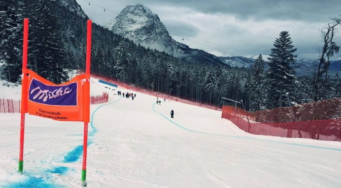 The downhill track in Garmisch-Partenkirchen, Germany is wet but ready. (photo: Laurenne Ross)