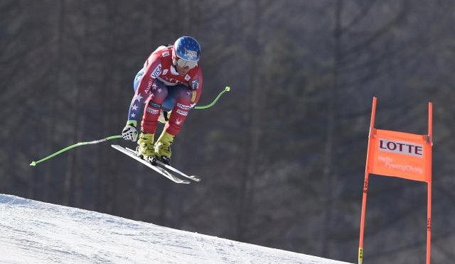 Steven Nyman skis to a World Cup podium in Korea on Saturday. (photo: Getty Images/Agence Zoom-Alain Grosclaude)