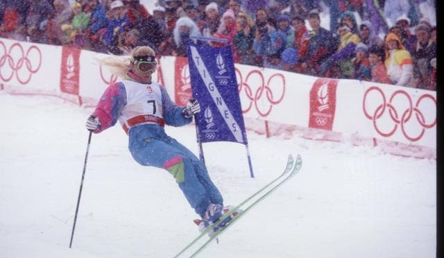 Donna Weinbrecht competes for her gold in 1992. (photo: Getty Images-Rick Stewart via USSA)