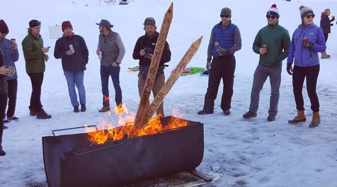 "Skiers burn a symbolic sacrifice to Ullr at an impromptu ""All About That Base"" party held at Alta Ski Area in Utah on Saturday. (photo: Tom Keyes)"