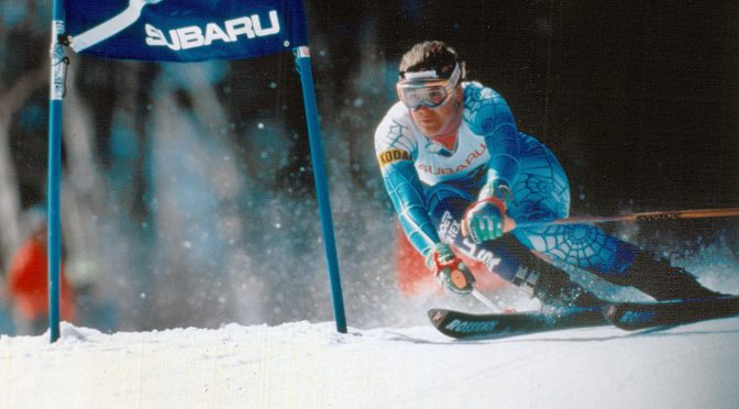 Julie Parisien, 19, races to victory in a World Cup giant slalom at Waterville Valley, New Hampshire - her career first victory. (photo: U.S. Ski Team - Lori Adamski Peek)