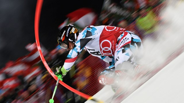 Austria's Marcel Hirscher skis to second place in the annual night slalom on Tuesday in Schladming, Austria. (photo: FIS/Agence Zoom)