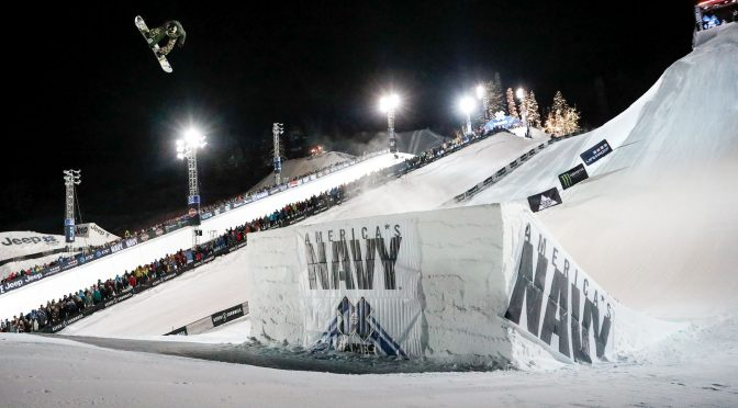 Hailey Langland stomped a Cab double cork 1080 in Thursday night's Snowboard Big Air, the first time that trick has been landed during X Games competition. (photo: Chris Tedesco/ESPN)