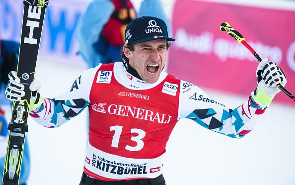 Austria's Matthias Mayer celebrates his super G victory in Kitzbuehel on Friday. (photo: Getty Images/AFP-Jure Makovec via USSA)